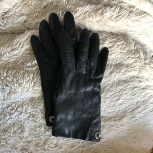 Black leather Coach Gloves